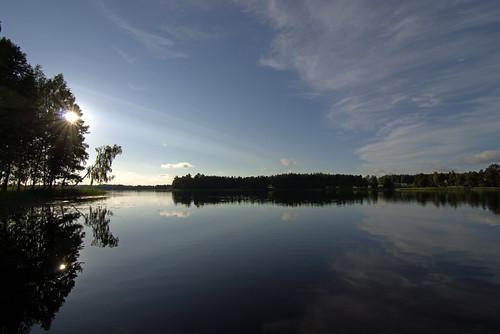 blue sky sun lake