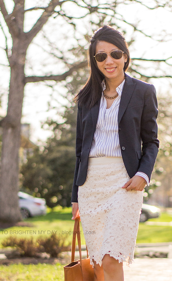 navy blazer, striped button up shirt, floral lace pencil skirt