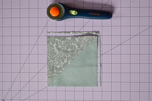 HSTs 8: Cut square to desired size, seam connecting corner to corner