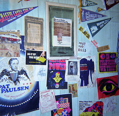 My room with dayglo posters, pennants, Vinnie's Apizza box cover and even a Pat Paulsen for President poster from 1968 (recycled for the '72 election with a magic marker). Lots of pennants for places that don't exist anymore. Milford Connecticut. 1972