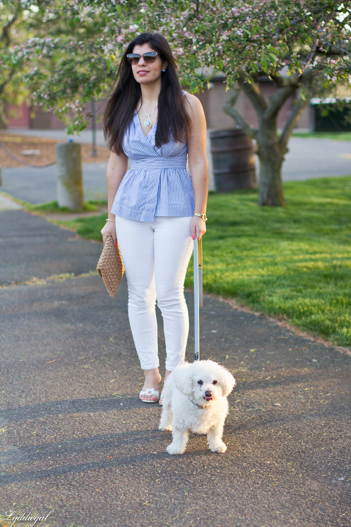 striped peplum top, white jeans, straw clutch.jpg