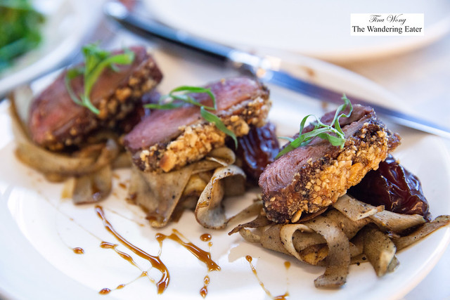 Duck breast, nduja stuffed dates, parnsnip, pek mez, hazelnuts