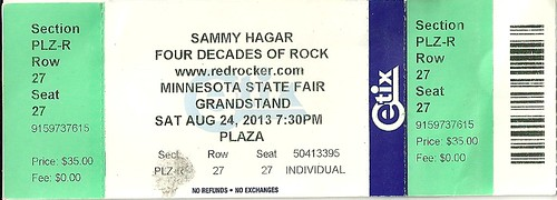 08/24/13 Sammy Hagar @ MN State Fair, St. Paul, MN