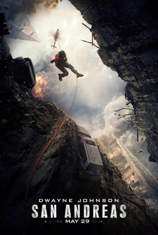 Poster de San Andreas con La roca