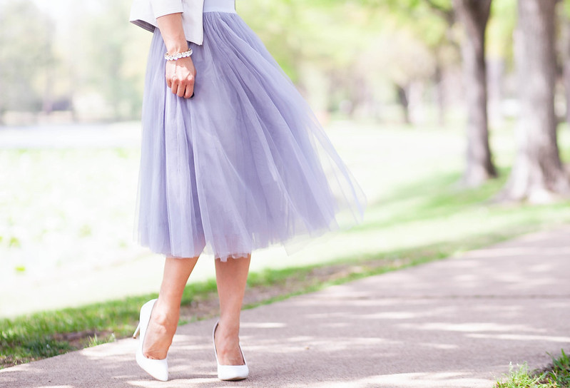 cute & little blog | petite fashion | grey tulle midi skirt, white pumps, white moto jacket | spring outfit | bridal shower | easter