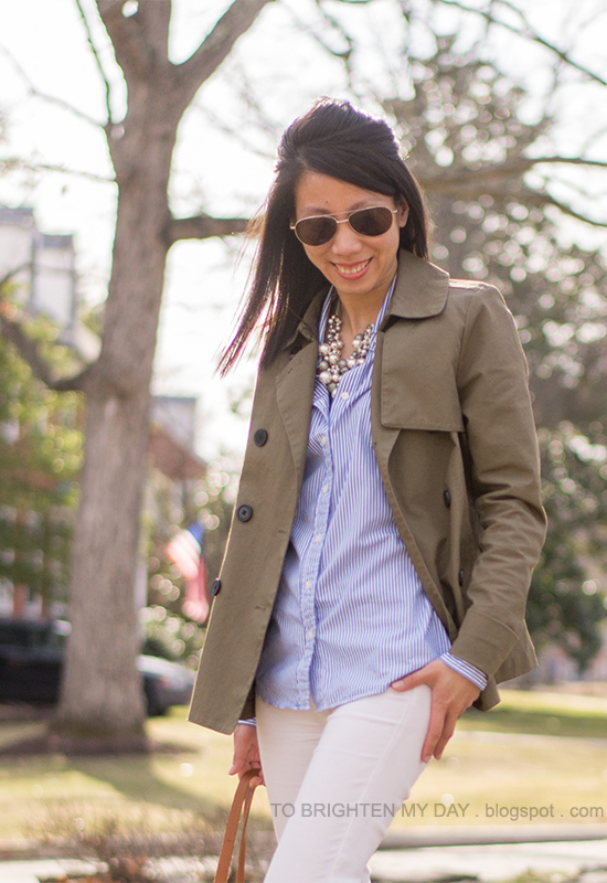 chunky pearl necklace, green swing trench, blue striped shirt, white jeans