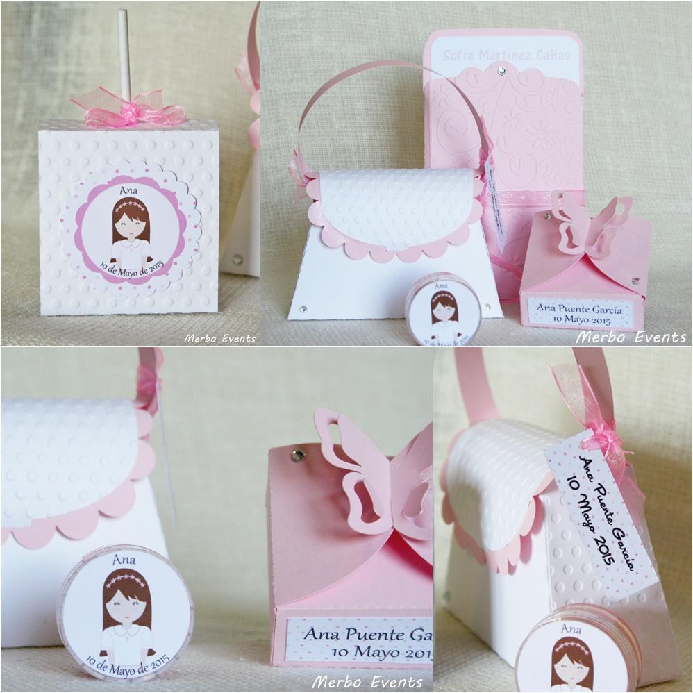 Packaging Blanco y rosa Detalles Comunión