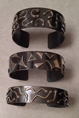 3 overlay & oxidized Cuffs....sterling
