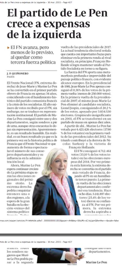 15c30 FN Le Pen sigue creciendo 2ª vuelta departamentales