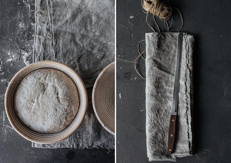 pão sourdough de centeio e trigo