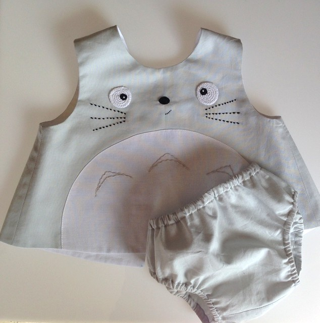 totoro dress with diaper cover 6-9months