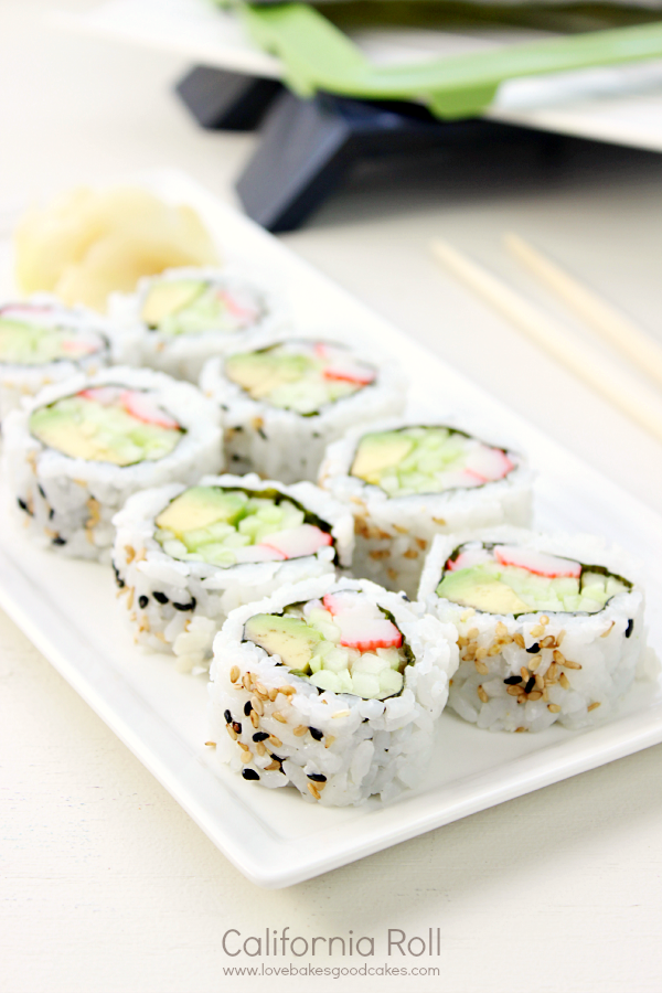 California Roll Recipe on a white plate.