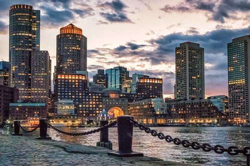 sunset seascape boston skyline night harbor