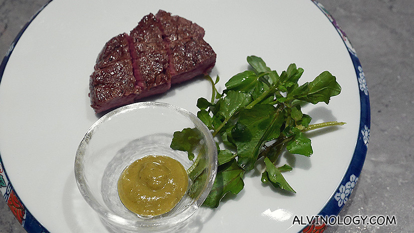 Charcoal Grilled Fillet of Tasmanian Grass-Fed Beef with Tetsuya's Wasabi Mustard