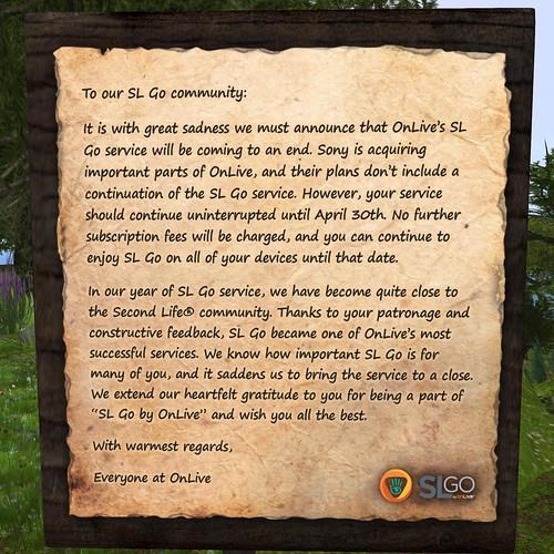 SL Go Closure Announcement