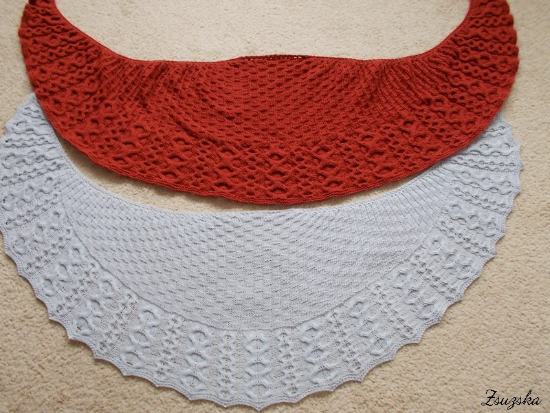 wool vs. acril, gingerbread, shawl
