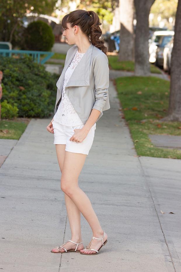 Grey Leather Jacket, White Lace Tee, White Shorts, BB Dakota Jacket
