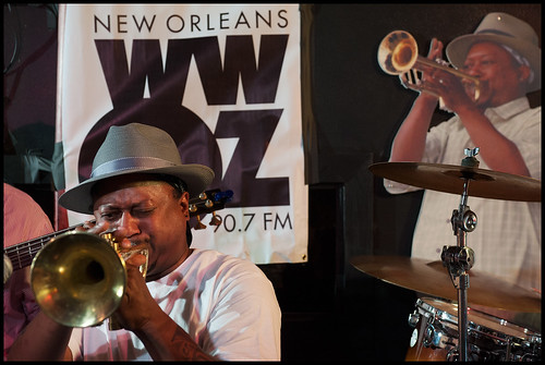 Kermit Ruffins and the BBQ Swingers on the final day of WWOZ's Spring 2015 pledge drive at Kermit's Mother-In-Law Lounge. Photo by Ryan Hodgson-Rigsbee www.rhrphoto.com