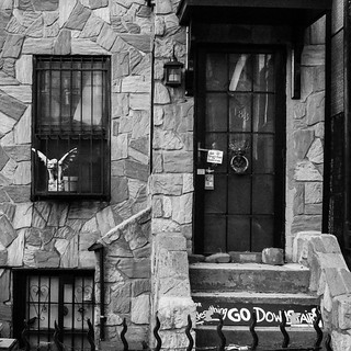 Everything go downstairs. #gargoyle #brooklyn #gowanus #southslope #nyc #blackandwhite #MPNselects #instagramnyc #igersnyc #streetphotography #signsofbrooklyn