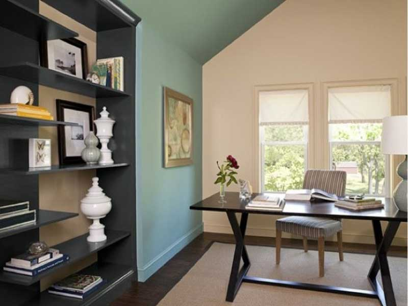 Home-Office-Ideas-Get-Paint-Color-Schemes-with-tiffany-blue-wall-and-cream-paint-with-black-simple-desk