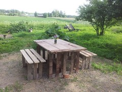 Garden table and benches from pallets