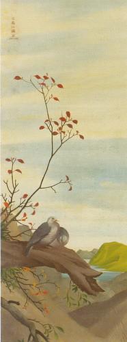 秋景双鳩図