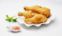 Fried chicken legs with chilli sauce