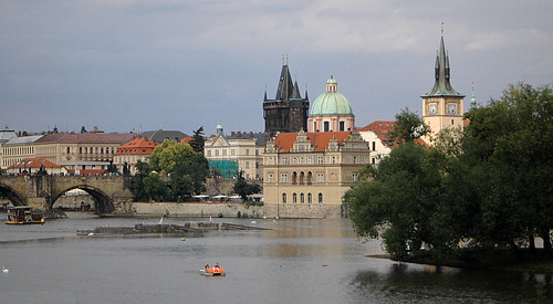 Prague view - Vltava river, Charles bridge, buildings