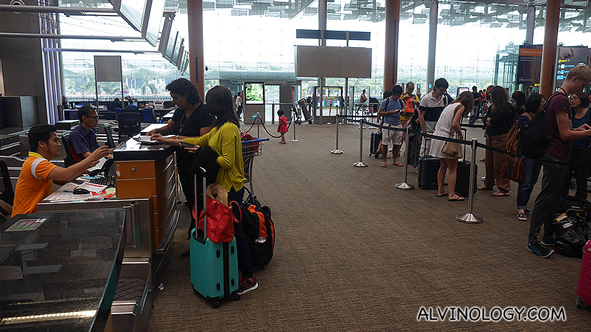 We skipped the queue during check-in at Changi AIrport