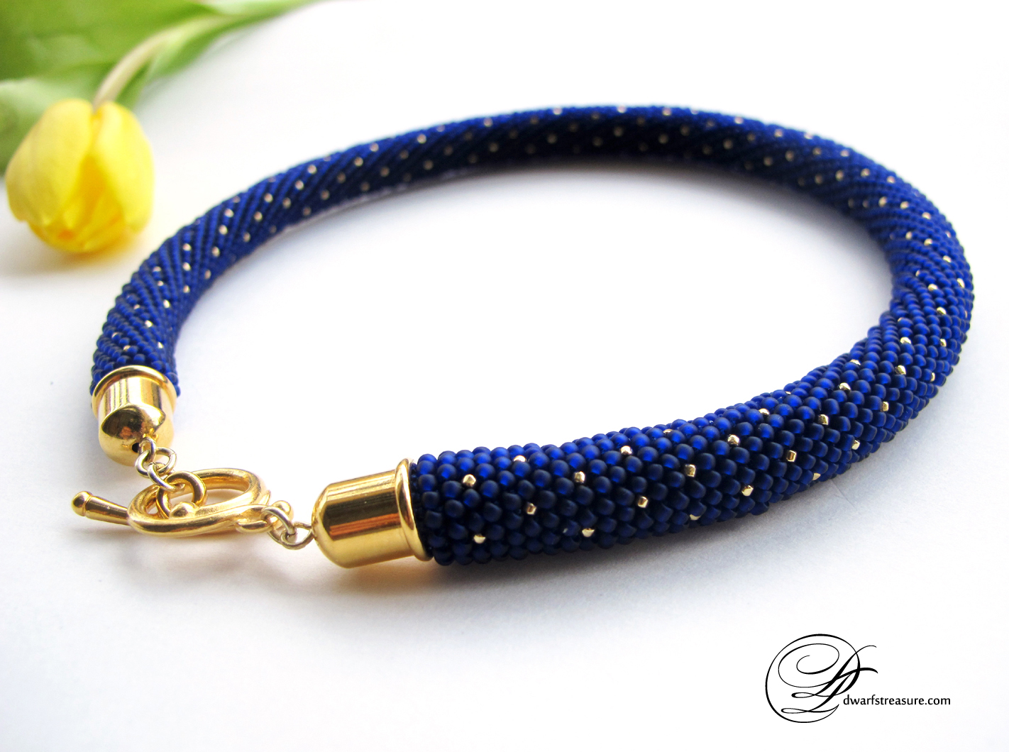 Fashion chic blue glass bead custom choker with gold polka dot pattern