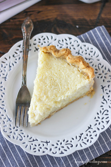 Vintage Coconut Custard Pie.