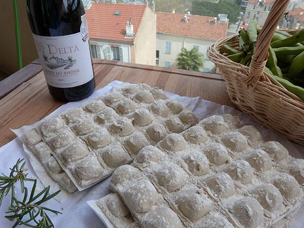 raviolis et vin