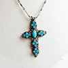 """Vintage Sterling Silver and Turquoise Cross on 20"""" Sterling Silver Chain"""