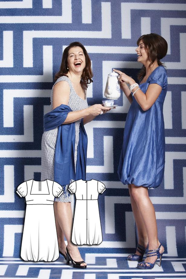 Women's short sleeve bubble hem dress sewing pattern 107 052010