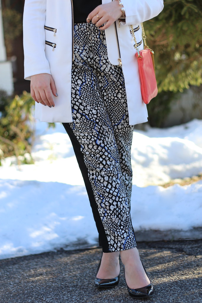 Printed Pants & White Coat | Work Wear | #LivingAfterMidnite