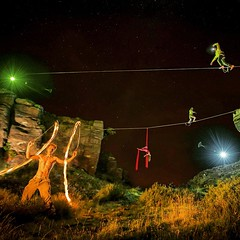 Lines of Light Project. Photograph taken in one shot. No composites, no add ins. With @merryspoon  and Co.  #slackline #balance #pedropimentelvisuals #pedropimentel.net #highline #aerials #circus