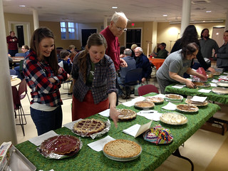 Dana Beasley-Brown and Megan Naseman scope out pies.
