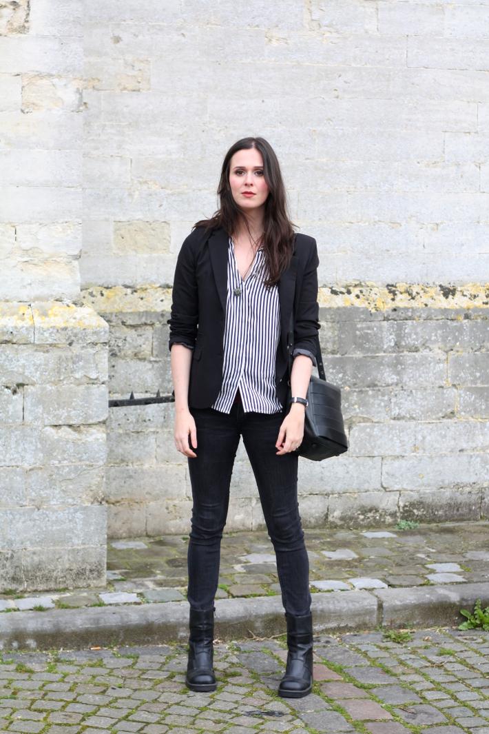 outfit: striped blouse, blazer, platform boots