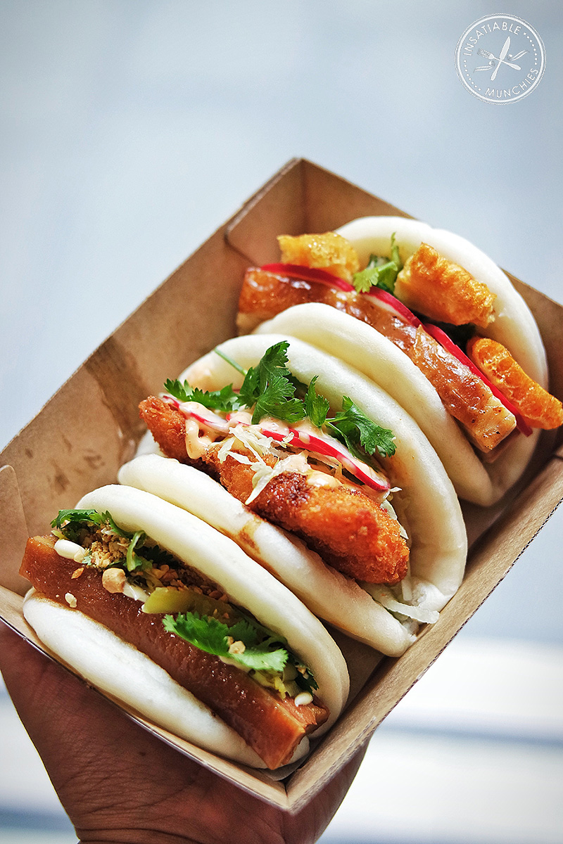 roast pork belly bao fried chicken bao and braised pork belly bao from belly