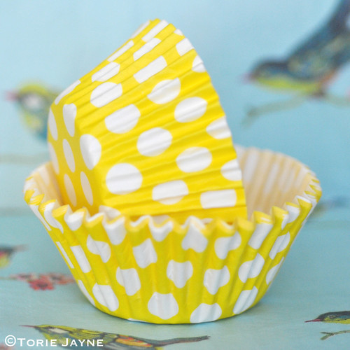 Yellow & white spot cupcake cases from Tala