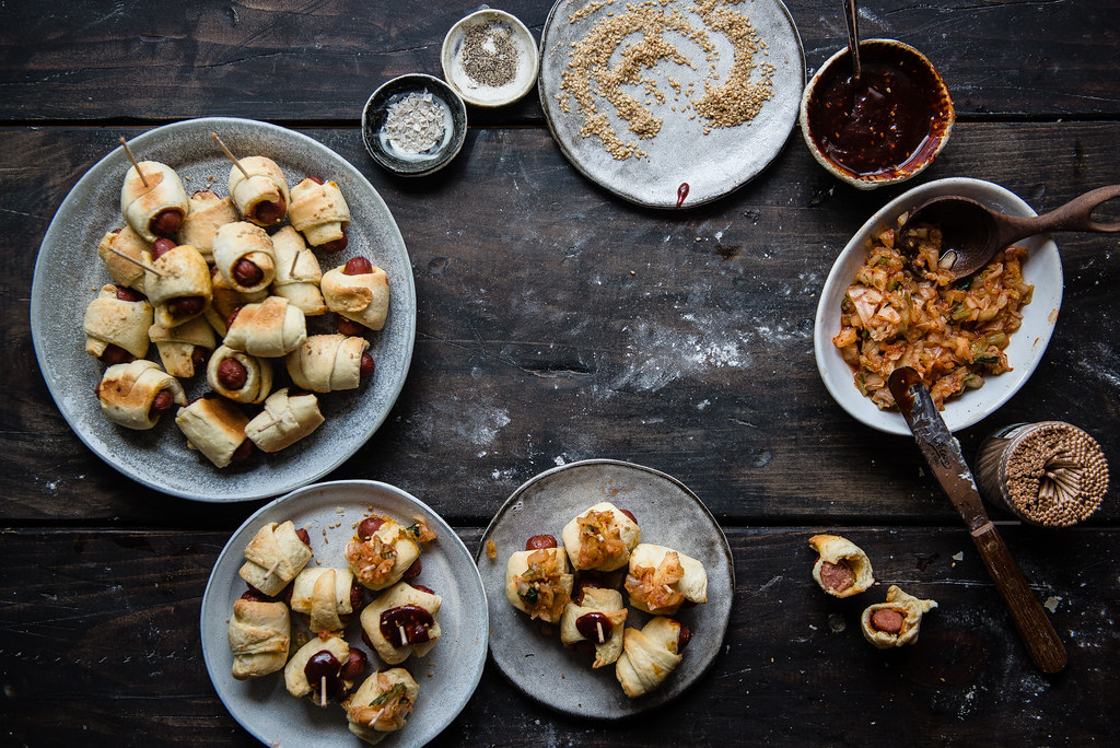 spicy gochujang pigs in a blanket | two red bowls