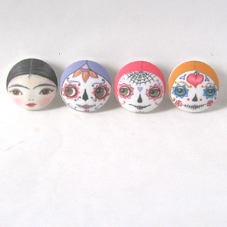 Day of The Dead & Frida doll face buttons