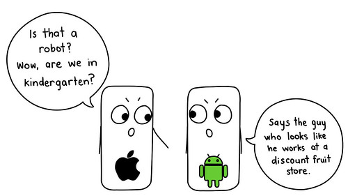 An iPhone and an Android phone talking.