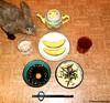 Seara (sea rabbit). Photograph by Dr. Takeshi Yamada. 20120819 019. Spaghetti, Japanese Soumen Style with Nori. Japanese Soumen Broth with raw egg and Japanese Scallion. Sliced Cantaloupe. Black Tea. Water