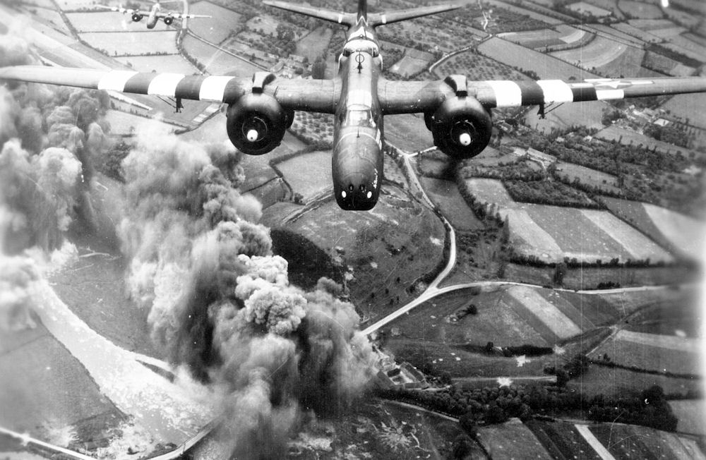 A-20 from the 416th Bomb Group making a bomb run on D-Day, 6 June 1944