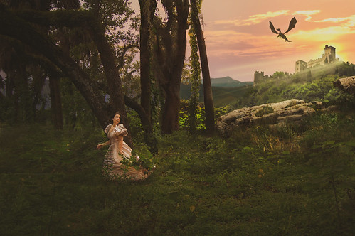 fairytale princess fantasy woods forest castle dragon sunset mythology magic magical photography photographer photoshopped photoshop edit edited manipulation manipulated composite composition