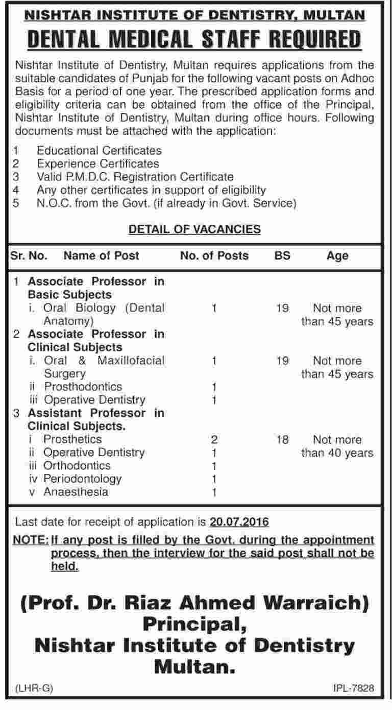 Nishtar Institute of Dentistry Multan Jobs