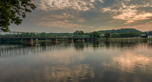 travel bridge sunrise river landscape us unitedstates pennsylvania newhope