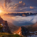Norway. The island of Senja. The view from the mountains to the fjord Husfjellet Steinfjorden and teeth of the devil by naumenkophotographer.com.ua