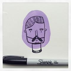 #dapper #gent #doodle on #repurposed #cardboard! #Sunday #Sharpie #paint #beard #art #spotillustration